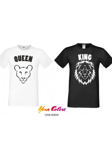 T-Shirt für Paare 2 st. Lion King & Queen vorne